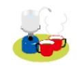 コンロでコーヒーを淹れているイラスト