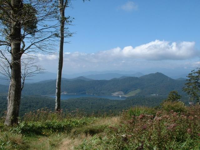 玉原湖(登山道より)