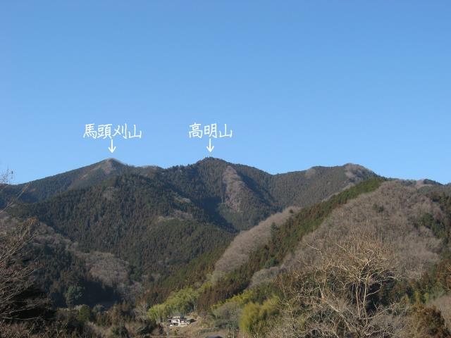 馬頭刈山と高明山(十里木駐車場より)