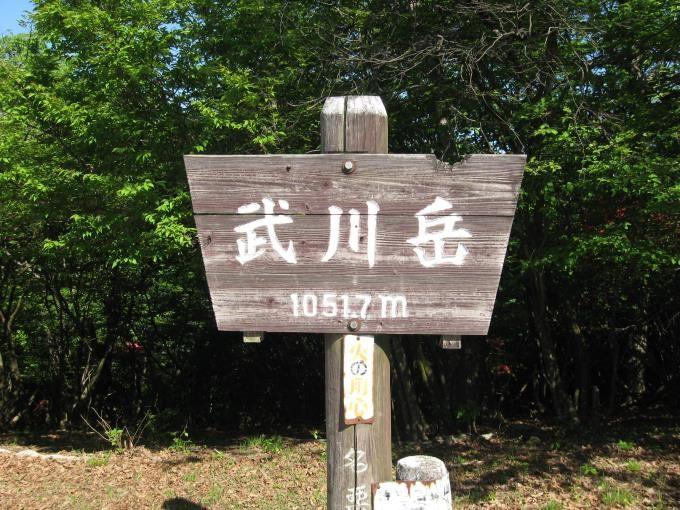 武川岳山頂にある山名板