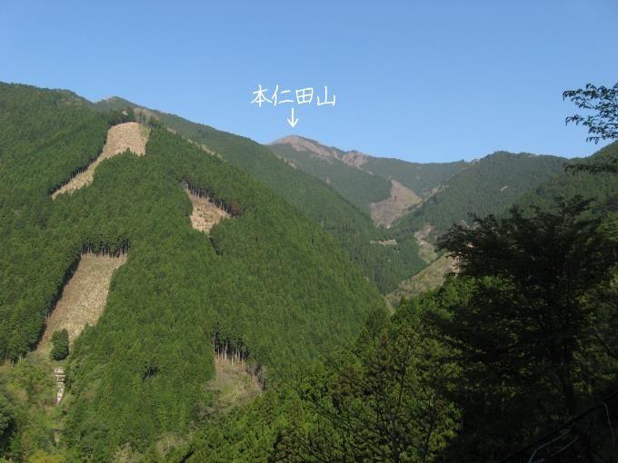 登山口から見た本仁田山