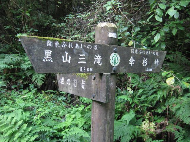 分岐にある案内板(左:役の行者へ、右:傘杉峠へ)