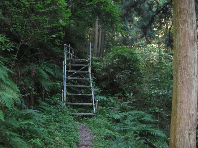 鉄製の階段(右側に手すりなし)