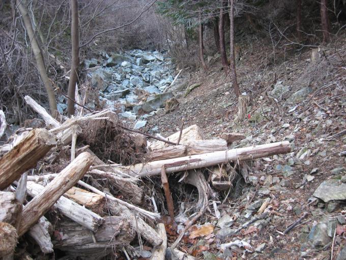 沢づたいにあった登山道