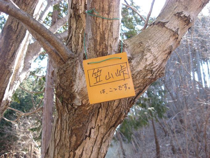 笠山峠と書かれた板が木にくくりつけられている。