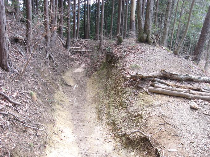 登山道は粘土質で滑りやすいので注意