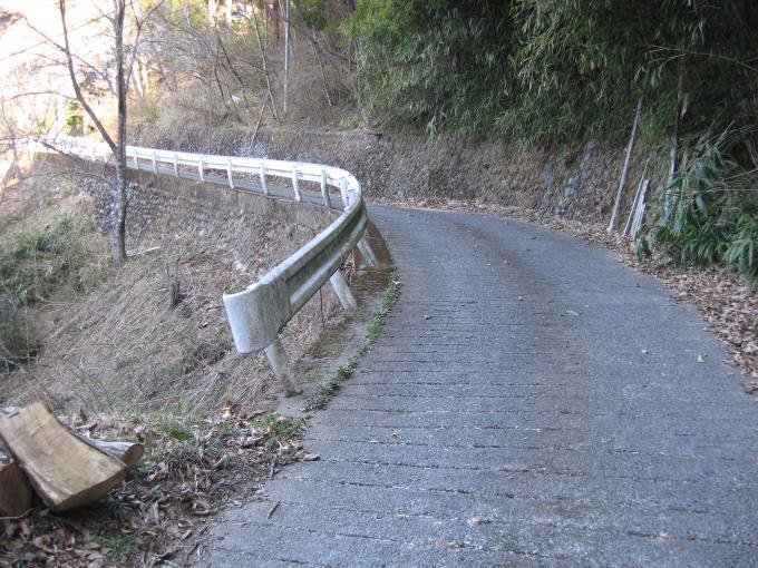 コンクリートで舗装された坂道を上ります。