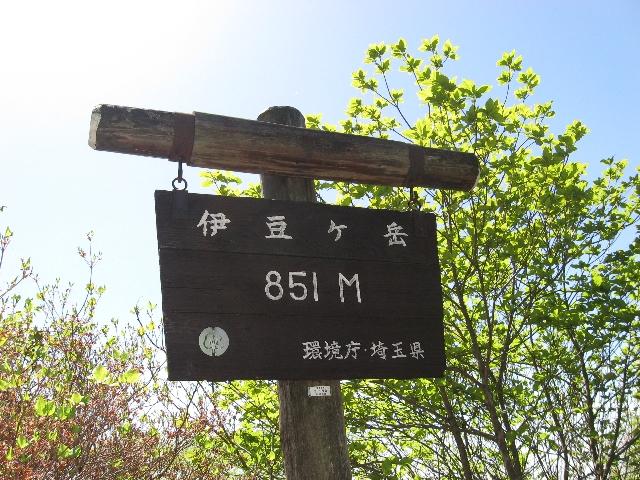 伊豆ケ岳山頂にある看板