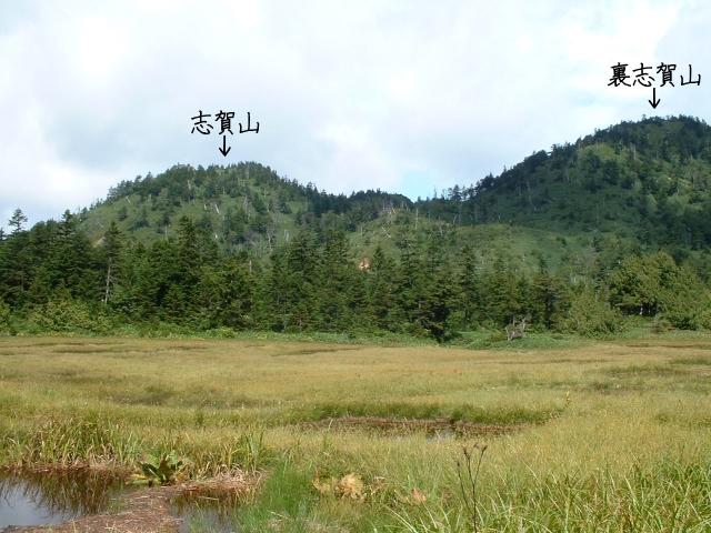 四十八池から見た志賀山と裏志賀山