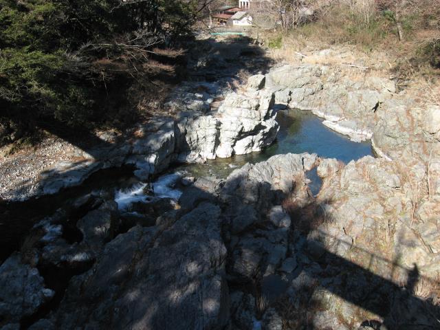 吊り橋から秋川渓谷の眺め