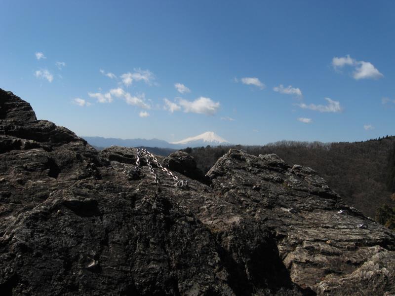 つづら岩のてっぺんからの富士山の眺め