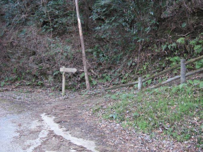 舗装道路の向かいにある登山道入り口