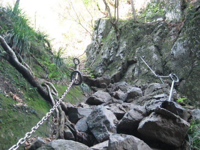 階段に積み重なった落石