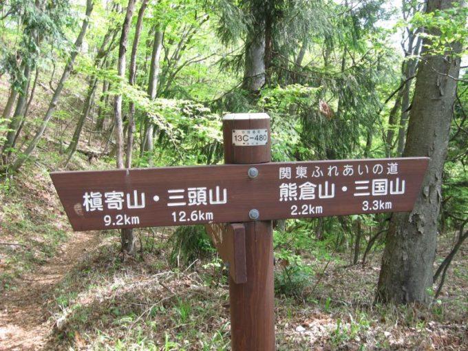 浅間峠にある熊倉山・三国山への案内板