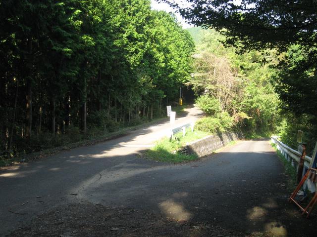 花立松峠の分岐(左の舗装道路上を歩く)
