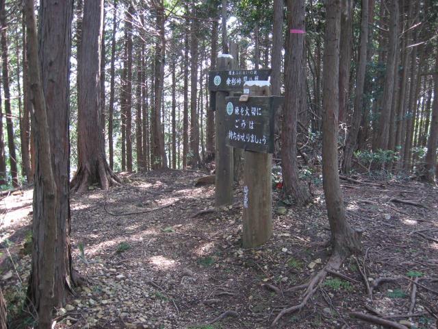 森の中のピークにある案内板(標高622mの表示あり)