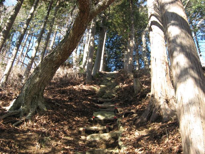 笠山神社(上社)への急な石段