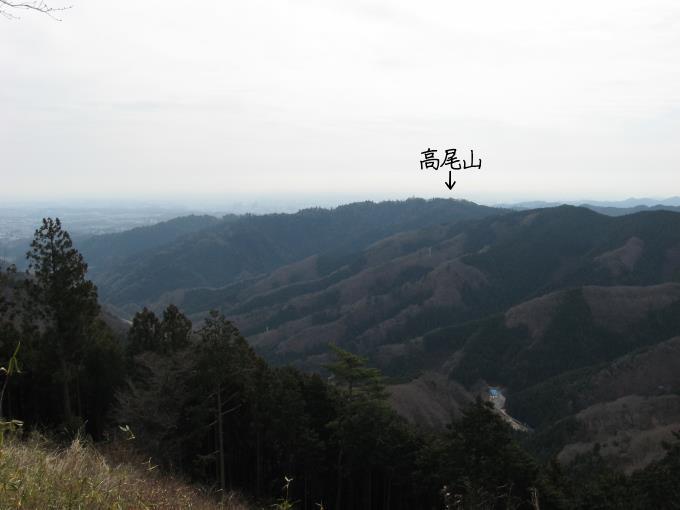 正面に高尾山が見える