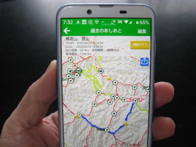 実際に歩いた登山ルートが青線で表示されている画像