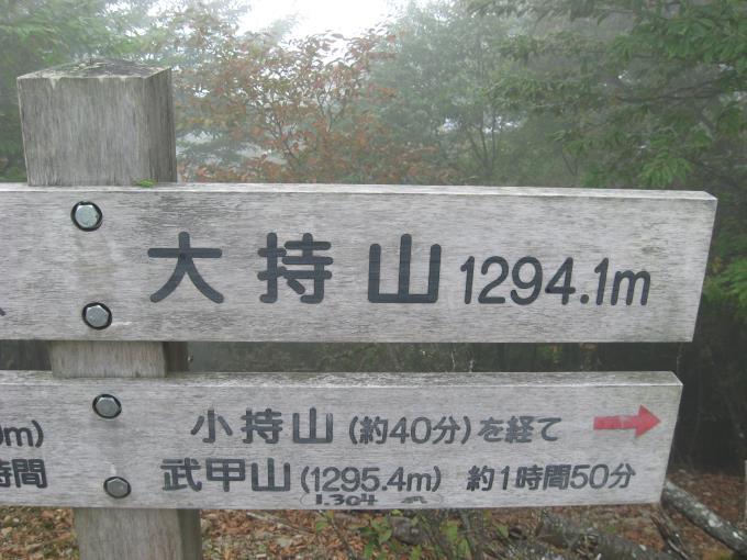 大持山の山頂にある案内板