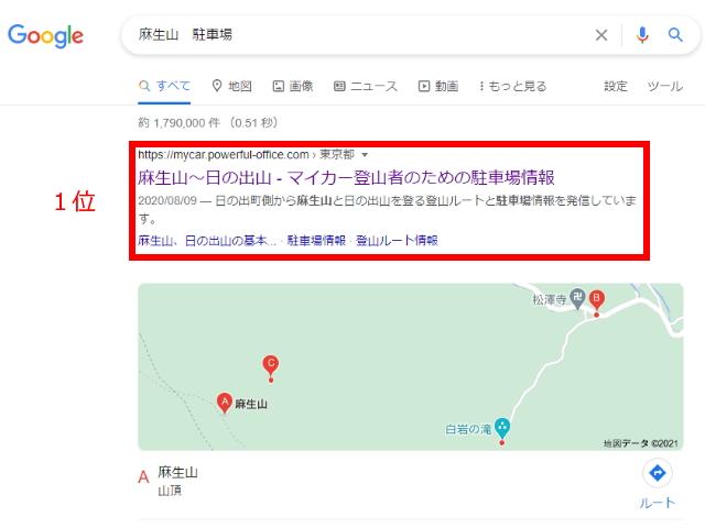 麻生山の検索順位