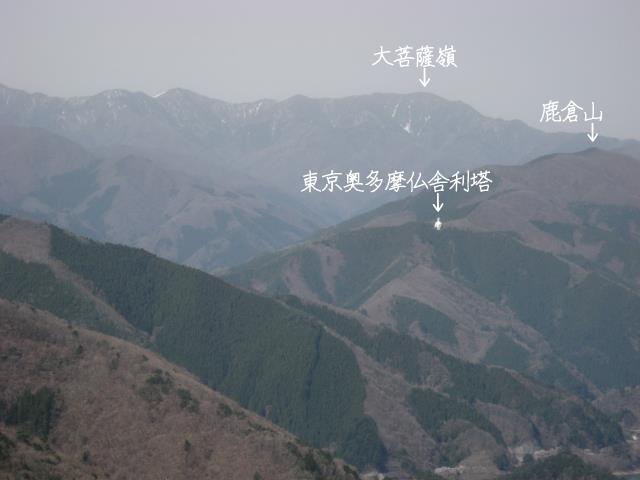 鹿倉山(ししくらやま)と大菩薩嶺のアップの写真