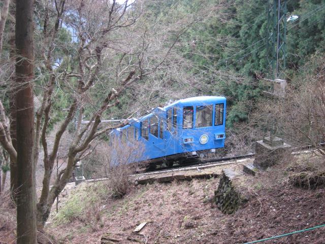 青いケーブルカー
