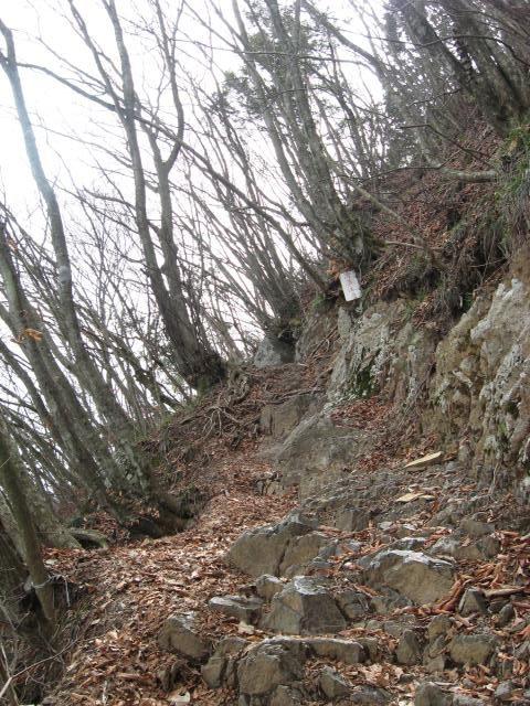 大岳山山頂手前の岩場